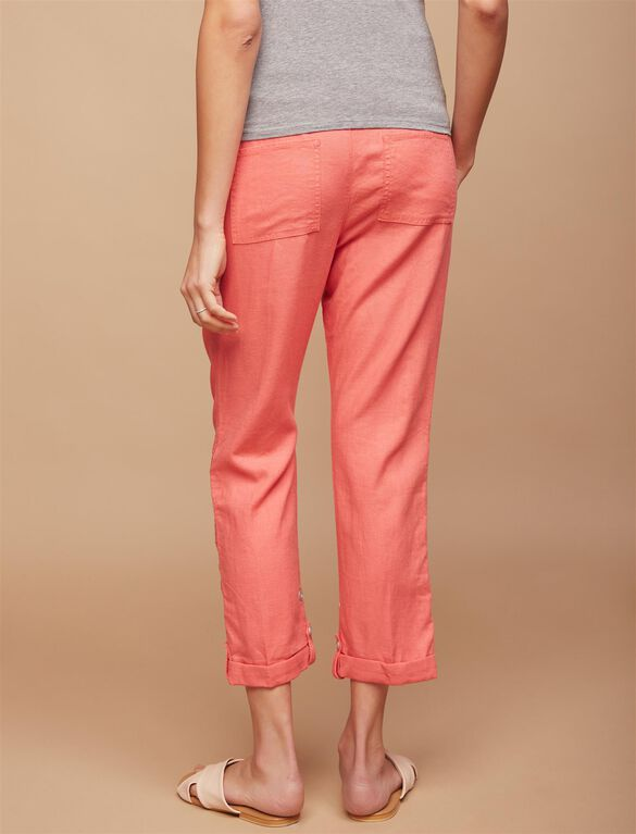 Secret Fit Belly Linen Blend Straight Leg Maternity Pants, Coral Fizz