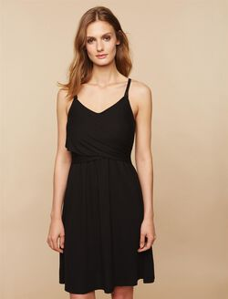 Twist Front Clip Down Nursing Nightgown- Solid, Synthetic Black
