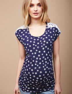 Crochet Detail Maternity T Shirt, Navy Star Print