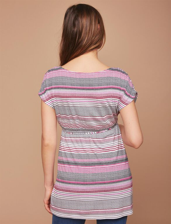 Shirred Waist Maternity Tunic- Stripe, Varigated Stripe