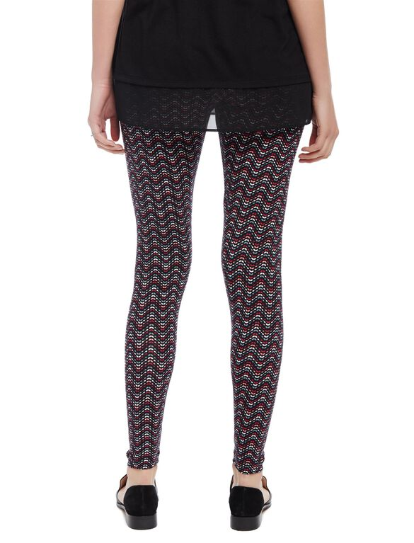 Secret Fit Belly Printed Maternity Leggings- Black/White Floral, Painterly Chevron
