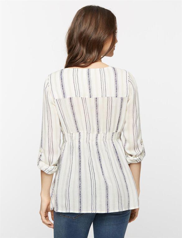 Striped Gauze Maternity Shirt, Multi Stripe