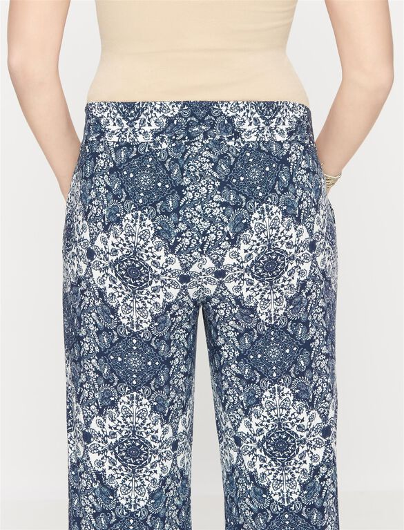 Luxe Essentials Wide Leg Maternity Pants, Paisley Print