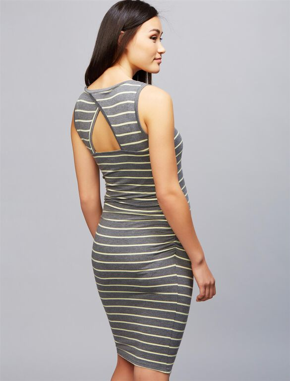 Striped Back Cutout Maternity Dress, Heather/Citrine