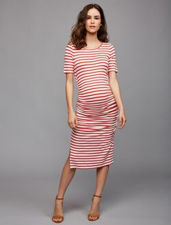 Isabella Oliver Nia Maternity Dress, Red/White Stripe