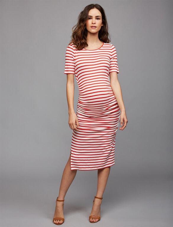 Isabella Oliver Nia Maternity Dress, Red/White Stripe