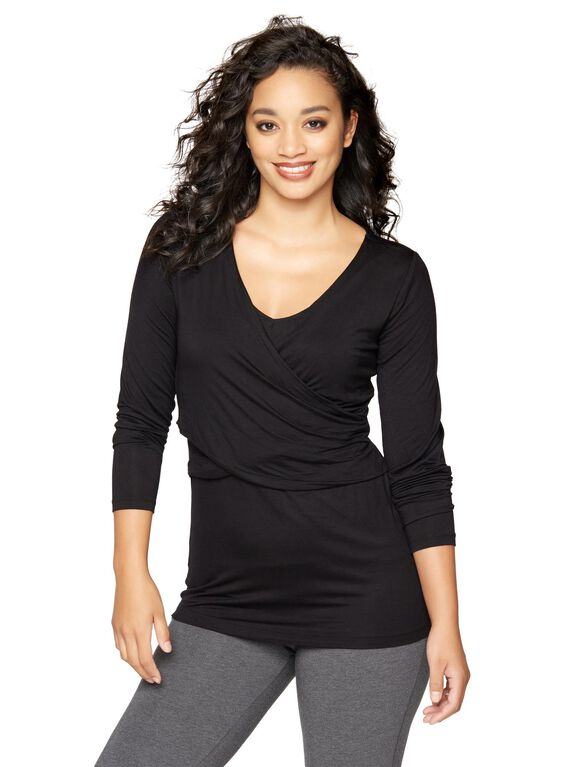 Layered Wrap Nursing Sleep Top, Black