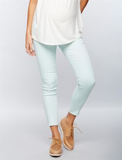 Luxe Essentials Denim Secret Fit Belly Skinny Ankle Maternity Jeans, Teal Denim