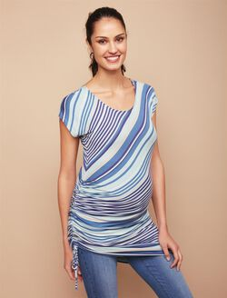 Jessica Simpson Side Tie Maternity Top- Blue Stripe, Blue Stripe