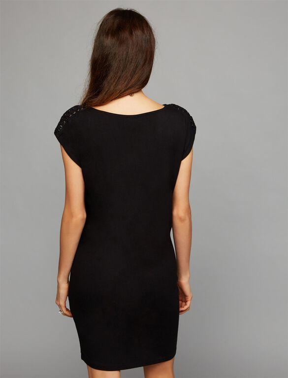 Splendid Lace Up Shoulder Maternity Dress, Black
