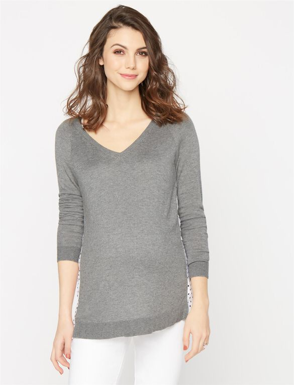 Knit Woven Dot Maternity Sweater, Grey With Dot Back