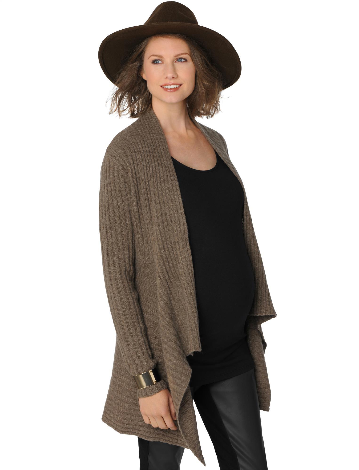 Autumn Cashmere Rib Knit Maternity Cardigan