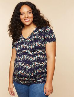 Plus Size Side Ruched Maternity T Shirt, Navy Floral