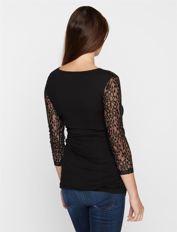 Isabella Oliver Lace Inset Cotton Maternity Shirt, Black Lace