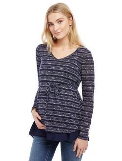 Hacci Knit Pleated Woven Maternity Shirt, Navy