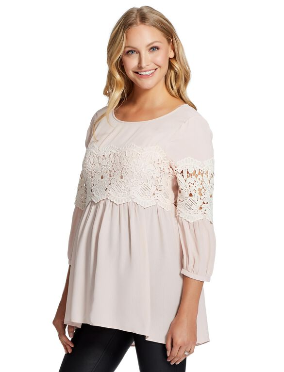 Jessica Simpson Lace Trim Maternity Blouse, Rose
