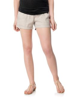 Pull On Style Cuffed Maternity Shorts, Sand