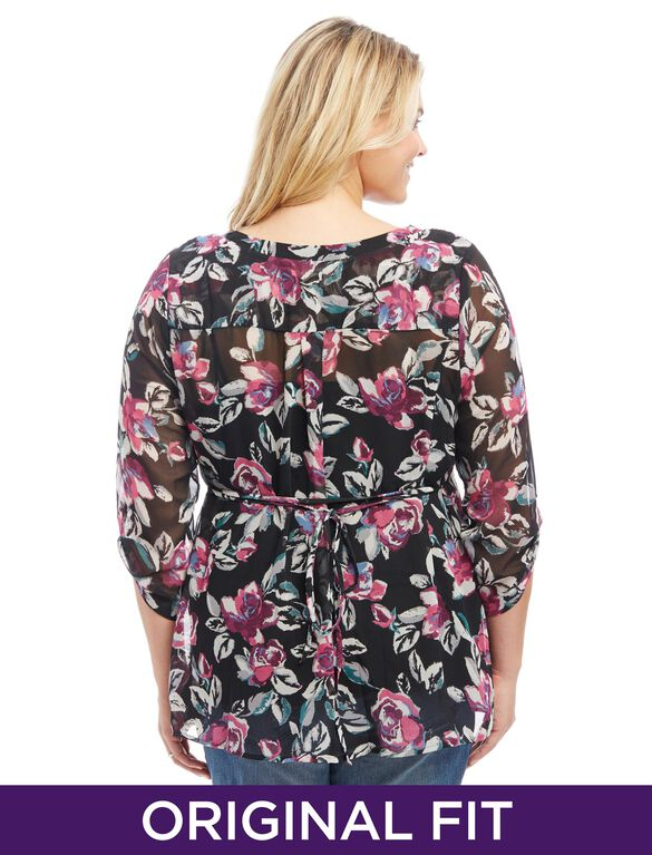 Plus Size Smocked Maternity Blouse, Dark Floral