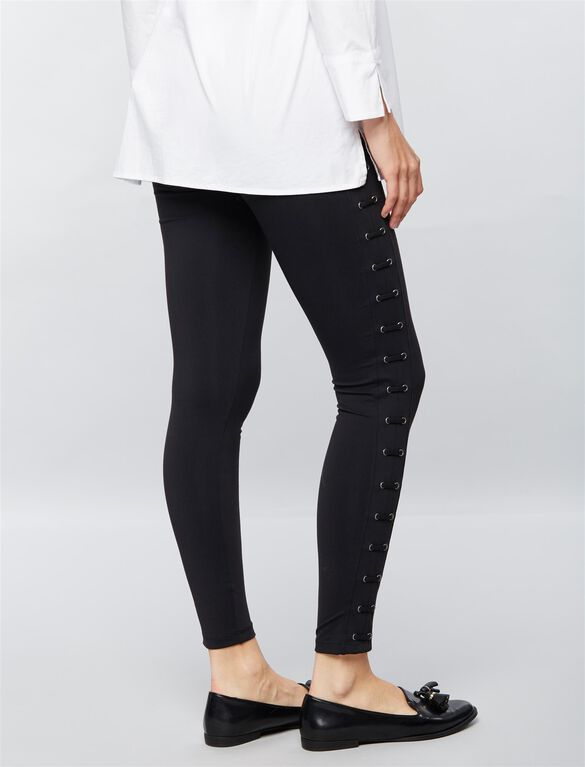 David Lerner Secret Fit Belly Lattice Maternity Leggings, Black