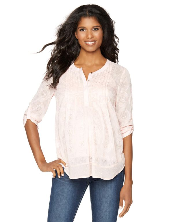Daniel Rainn Pleated Maternity Blouse, Blush