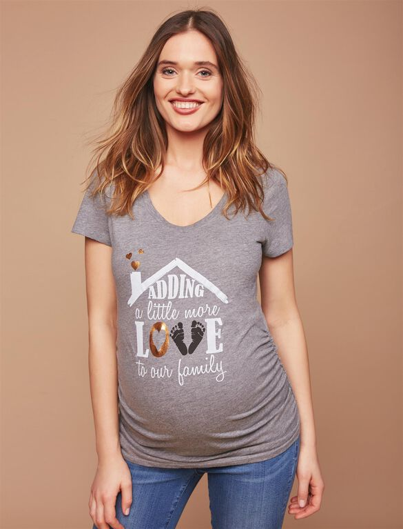Adding A Little Love Maternity Tee, Grey