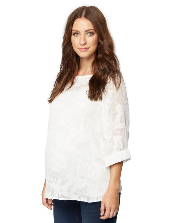 Shirring Detail Maternity Blouse, White