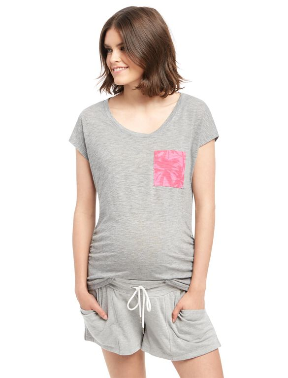 Floral Pocket Maternity Tee, Grey