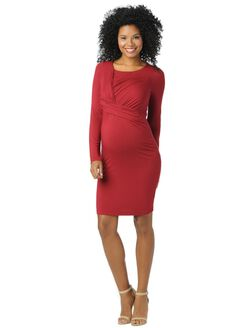 Drape Front Maternity Dress, Red