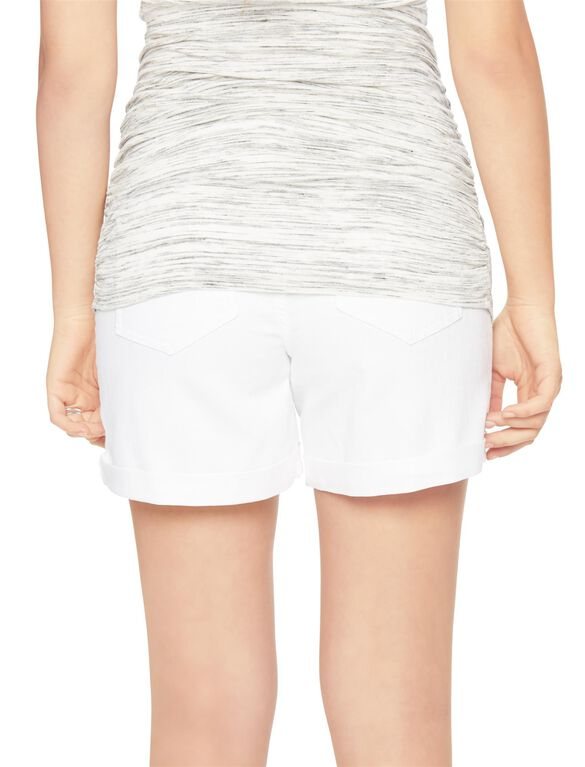 Indigo Blue Secret Fit Belly Roll Hem Maternity Shorts, White