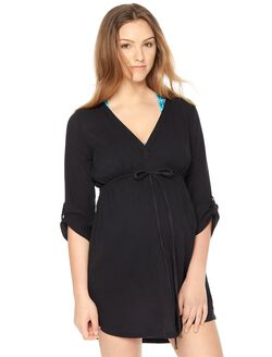 Tie Detail Maternity Swim Cover-up, Black