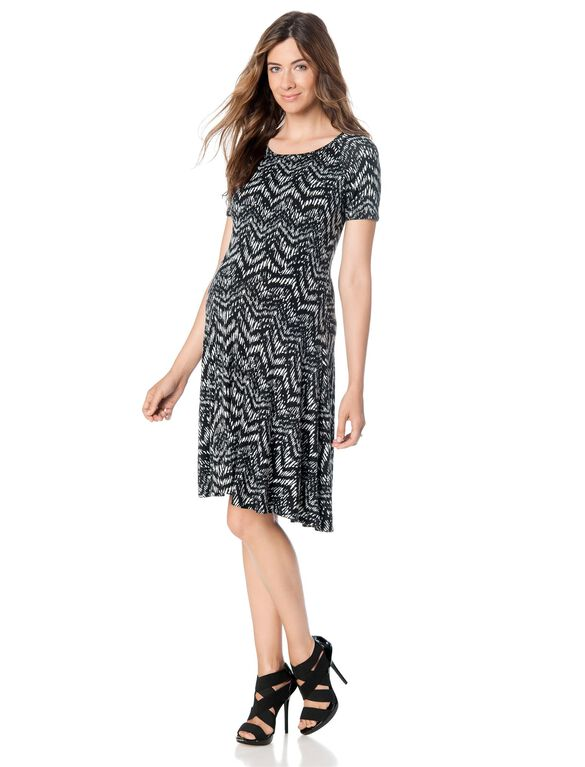 Swing Maternity Dress, Black/White Print