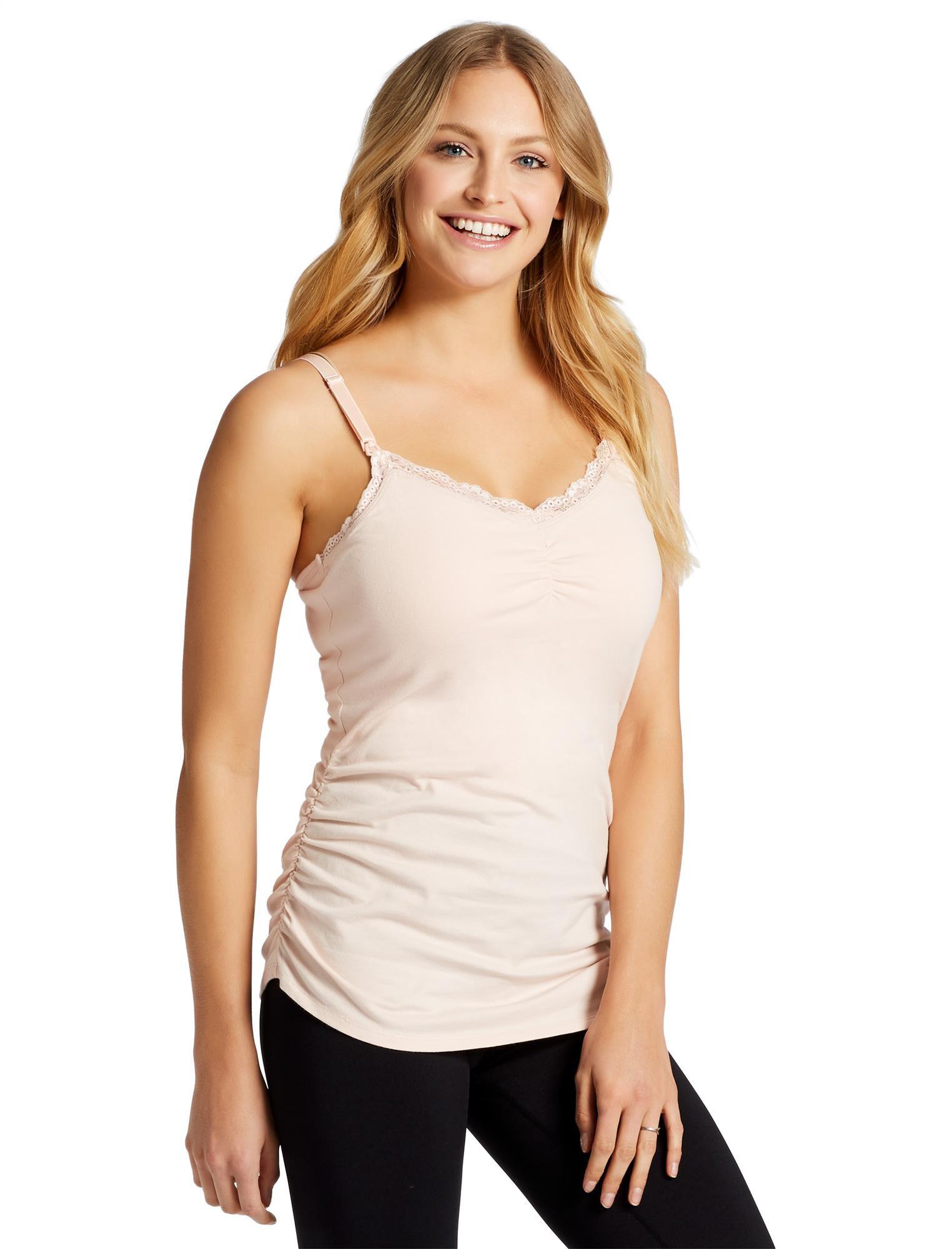 Jessica Simpson Clip Down Shelf Bra Nursing Cami- Solid