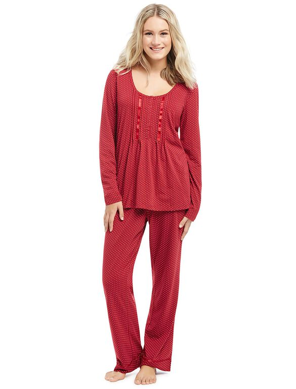 Polka Dot Maternity Pajama Set- Red Print, Red Print