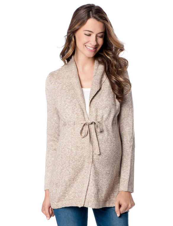 Drawstring Shawl Maternity Sweater, Brown Marl