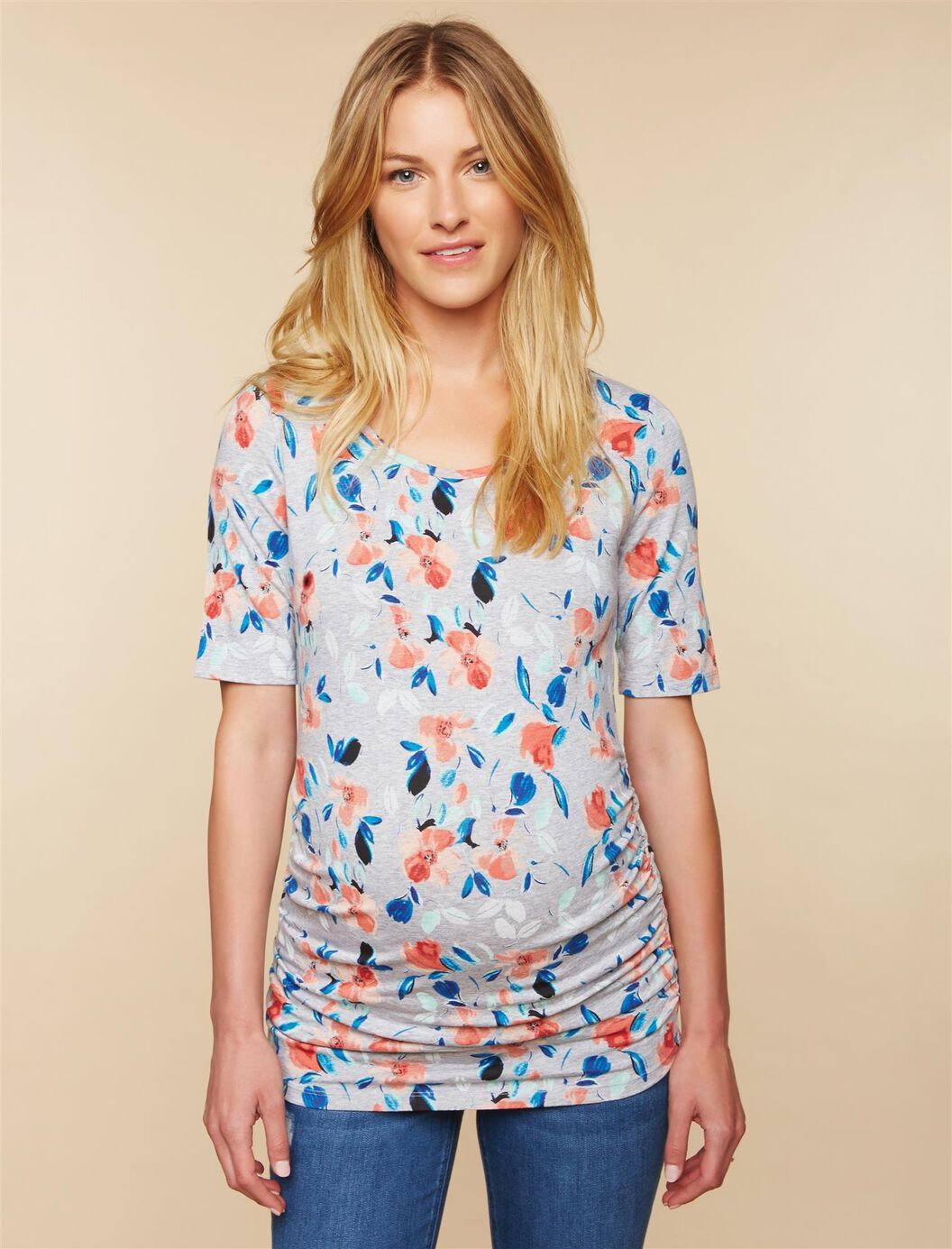 Elbow Sleeve Side Ruched Maternity Tee- Solid at Motherhood Maternity in Victor, NY | Tuggl