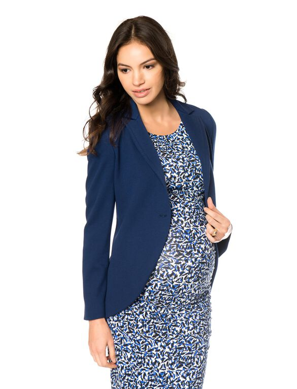 1 Button Closure Maternity Blazer, Navy