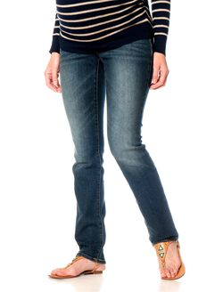 Secret Fit Belly Long Straight Leg Maternity Jeans, Dusted Medium Wash