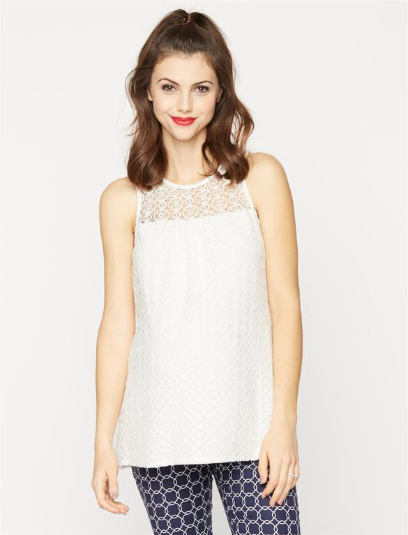 Lace Detail Sleeveless Maternity Top, Ivory