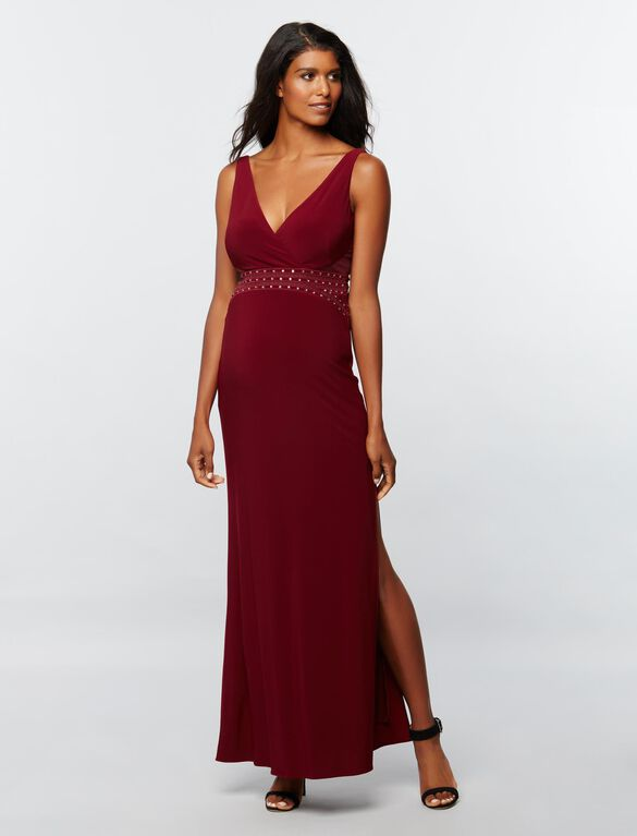 Laundry Embellished Maternity Gown, Red