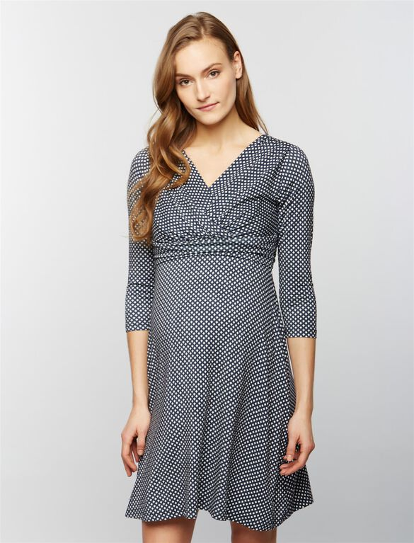Seraphine Pia Maternity Dress, Grey & White Print