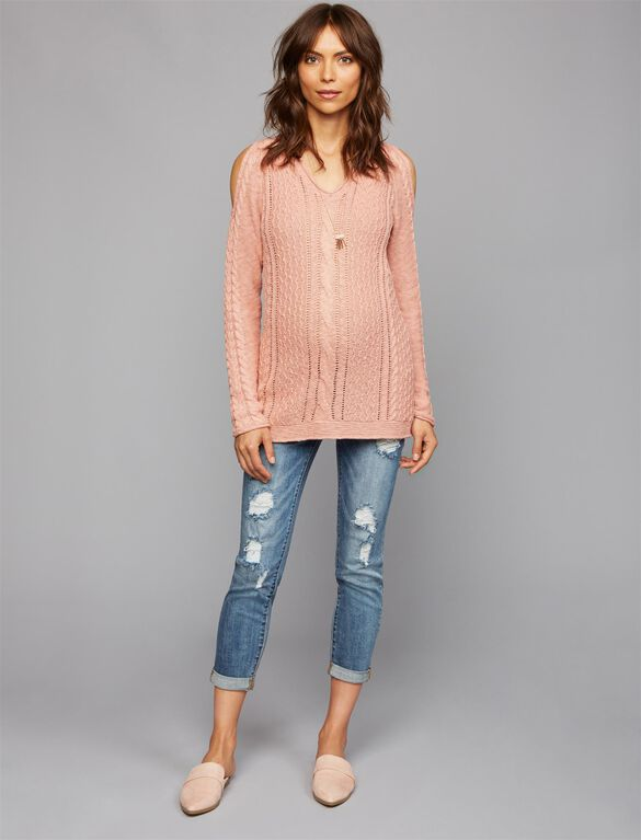 Cold Shoulder Maternity Sweater, Rosette Heather