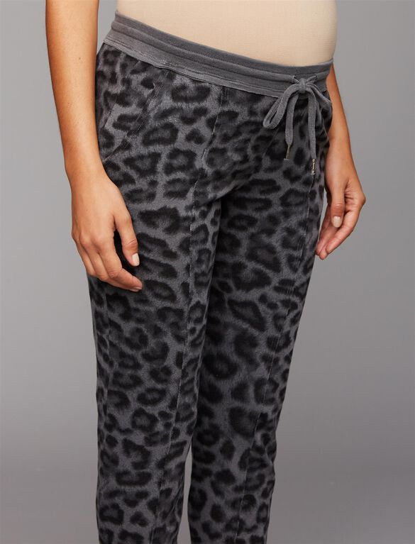 Splendid Under Belly Leopard Maternity Jogger Pants, Leopard Print