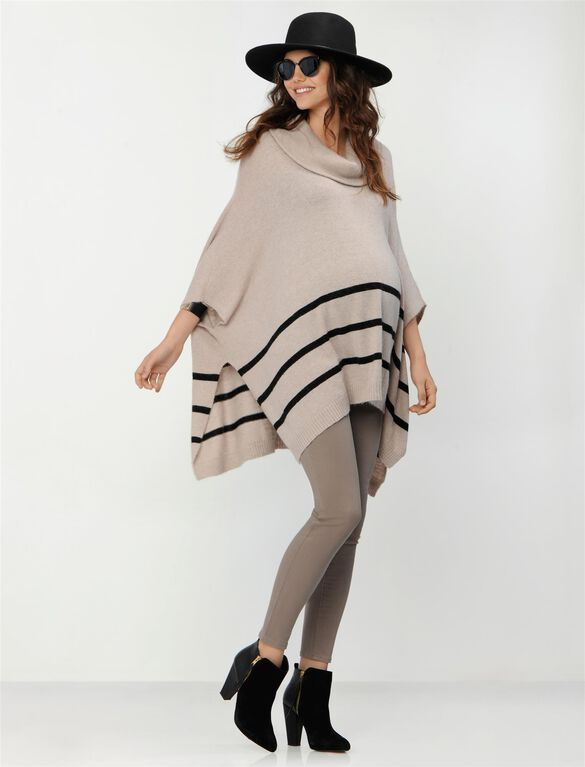Poncho Maternity Sweater, Oatmeal/Black Stripe