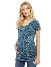 V-neck Side Ruched Maternity Tee- Star Print, Pink Teal Print