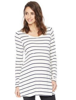 Long Sleeve Legging Maternity Tee- Stripe, Navy/White Stripe