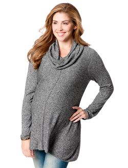 Hanky Hem Maternity Sweater, Black Marl