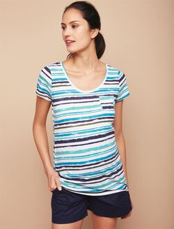 Pocket Tee Maternity T Shirt, Blue/Turq Stripe