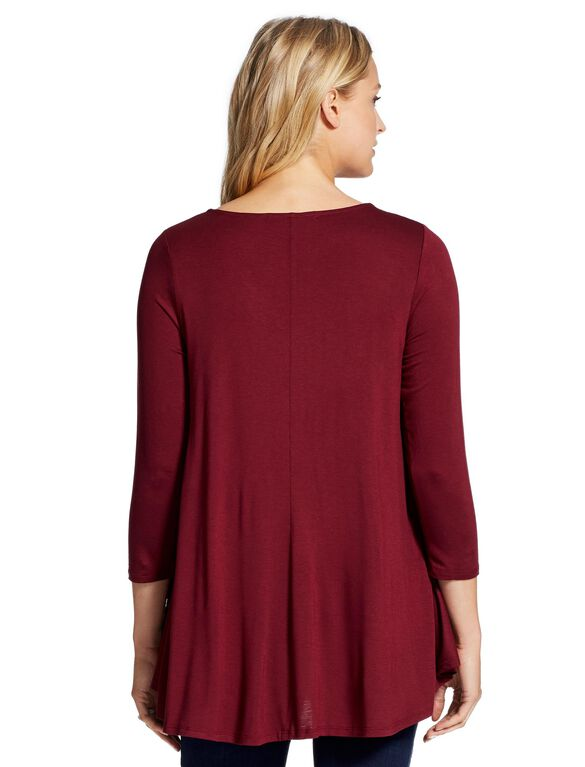 Jessica Simpson Flocked Print Maternity Top, Rich Bordeaux