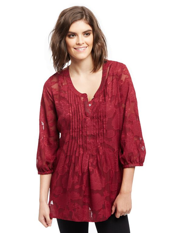 Pleated Maternity Blouse, Zin Burnout