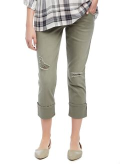 Secret Fit Belly Twill Skinny Leg Maternity Crop Pants, Olive